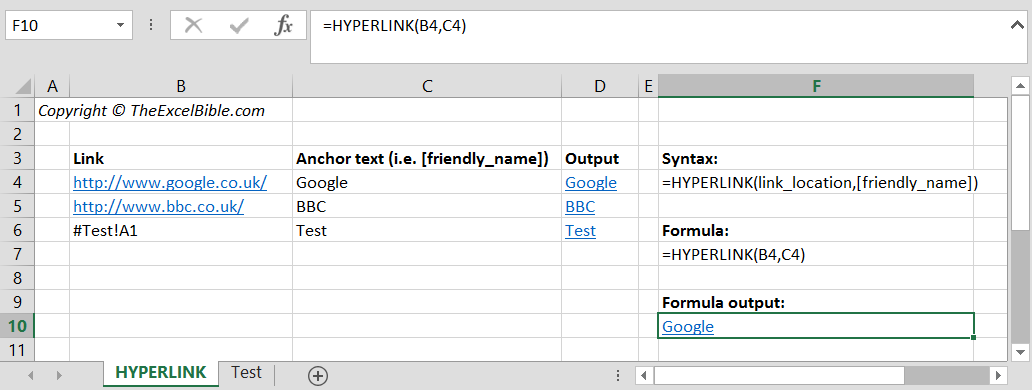 How to use the HYPERLINK function in Excel
